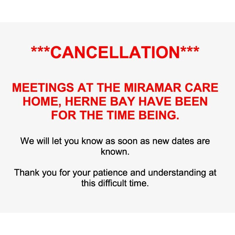 **CANCELLATION** Group at the Miramar has been cancelled